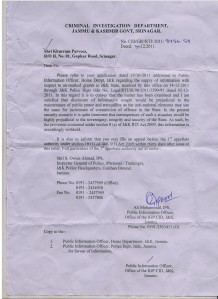 copy of CID reponse on our RTI application.